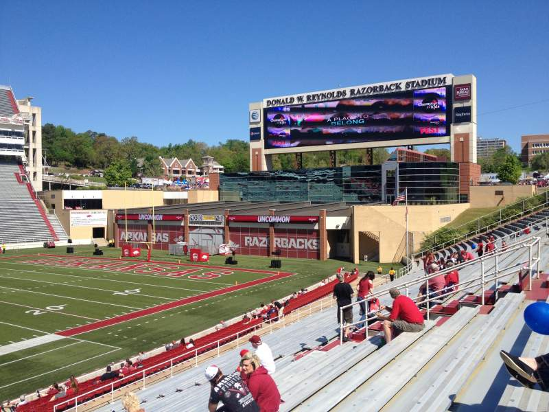 Seating view for Razorback Stadium Section 114 Row 22 Seat 20