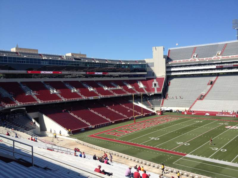Seating view for Razorback Stadium Section 114 Row 44 Seat 20