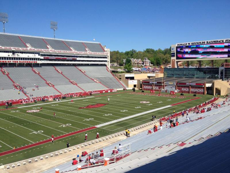 Seating view for Razorback Stadium Section 117 Row 44 Seat 20
