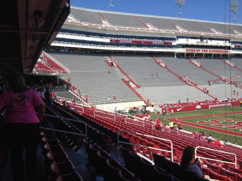 Seating view for Razorback Stadium Section 122 Row 22 Seat 10