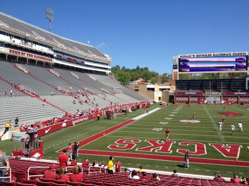 Seating view for Razorback Stadium Section 124 Row 22 Seat 10