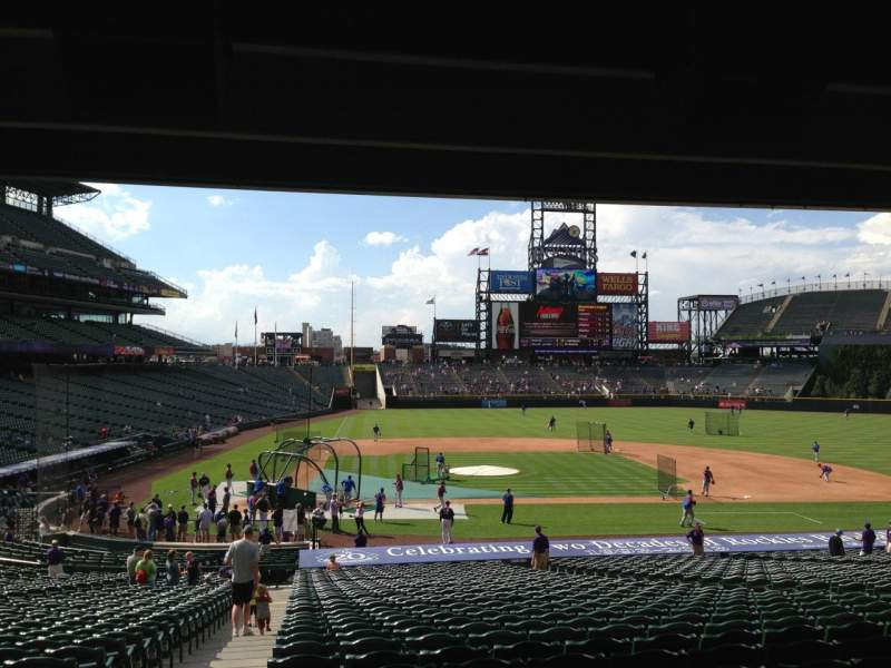 Seating view for Coors Field Section 125 Row 38 Seat 12