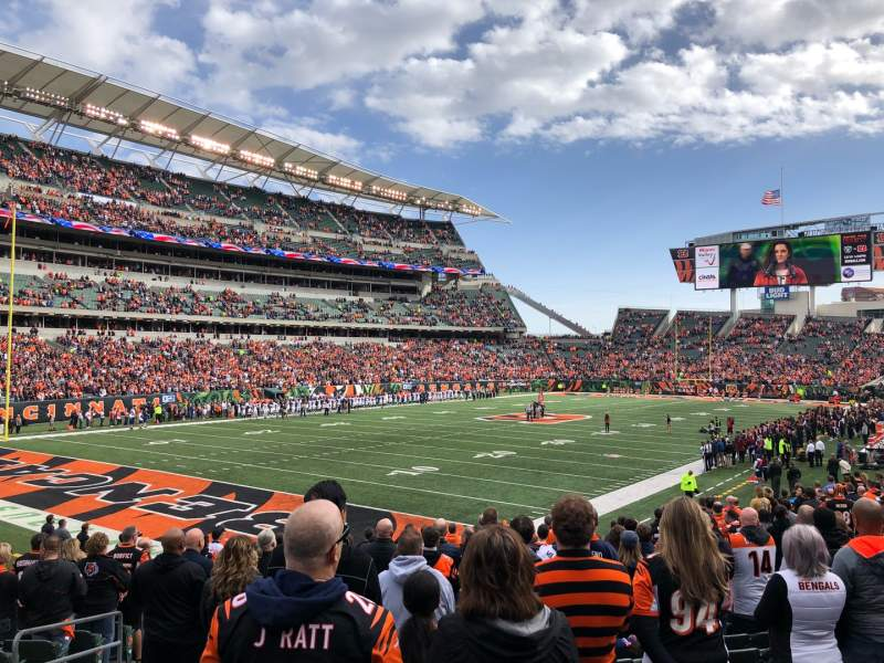 Seating view for Paul Brown Stadium Section 119 Row 19 Seat 14