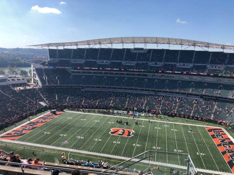 Seating view for Paul Brown Stadium Section 338 Row 19 Seat 1
