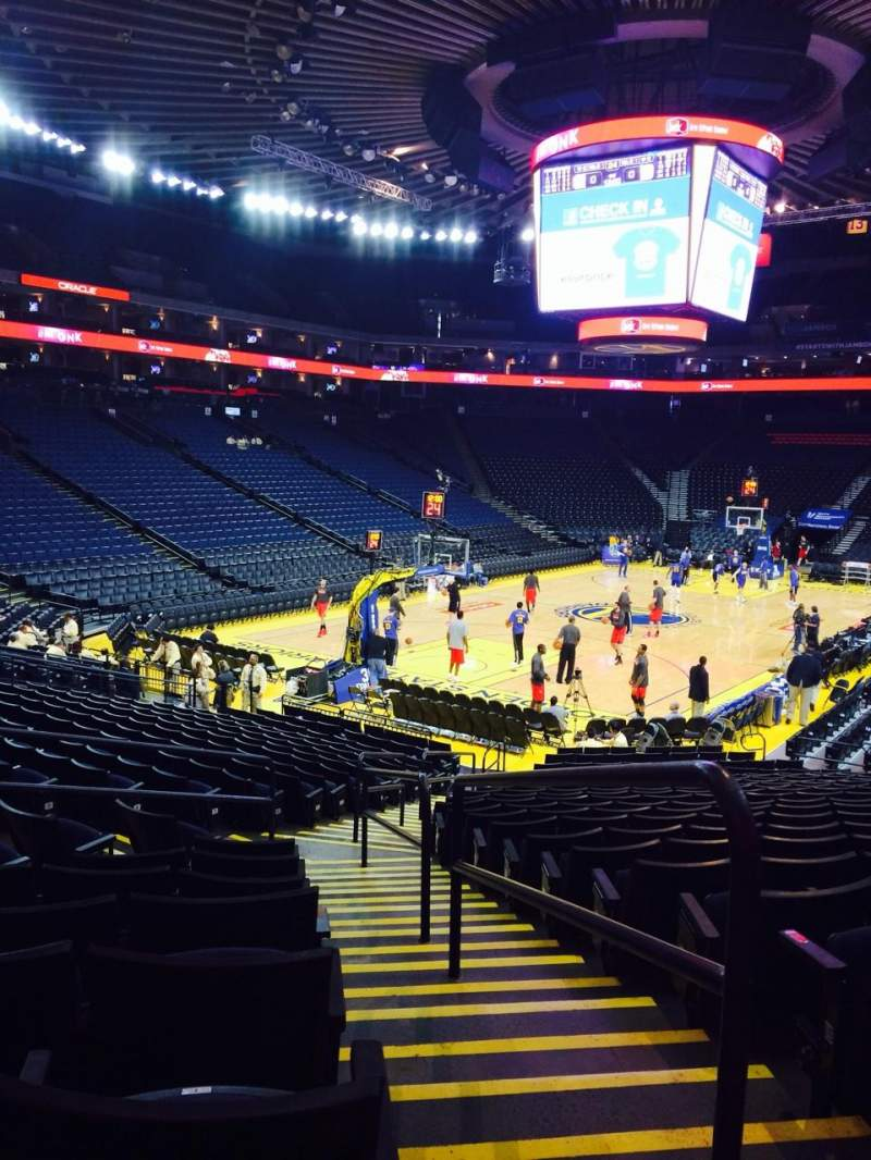 Seating view for Oracle Arena Section 106 Row 18 Seat 1
