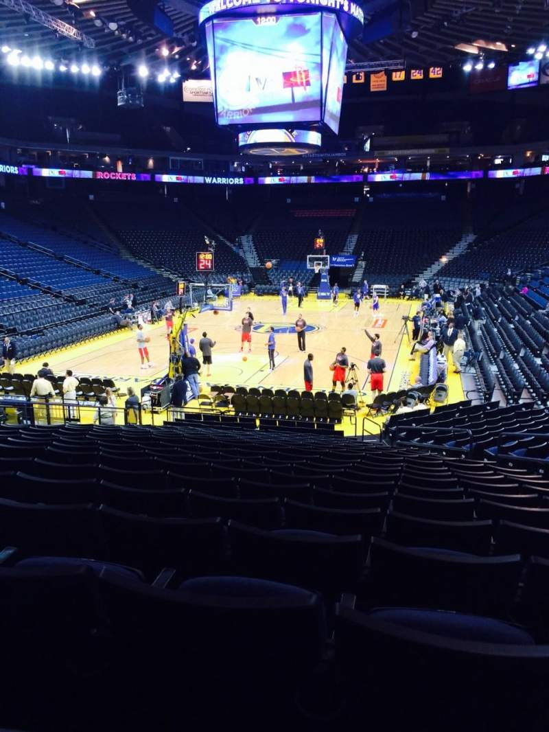 Seating view for Oracle Arena Section 107 Row 16 Seat 3