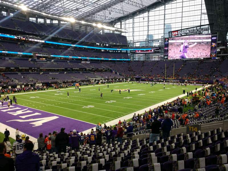 Seating view for U.S. Bank Stadium Section 114 Row 19 Seat 22