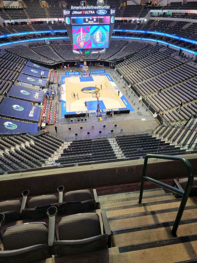 Seating view for American Airlines Center Section 319 Row D Seat 1