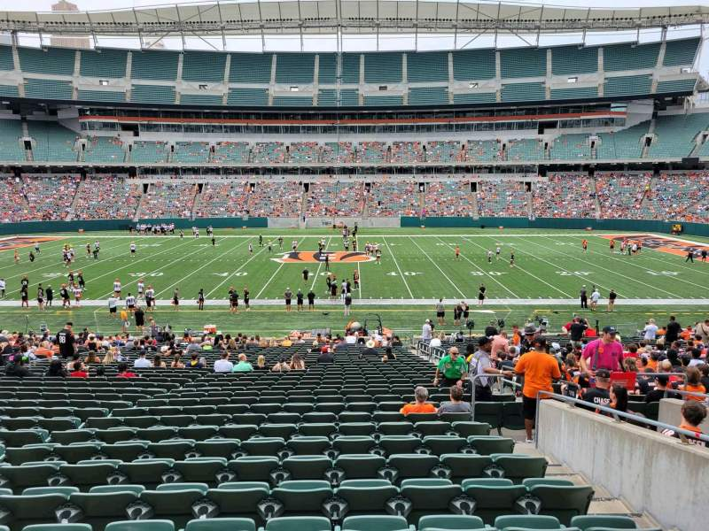 Seating view for Paul Brown Stadium Section 110 Row 32w Seat 6
