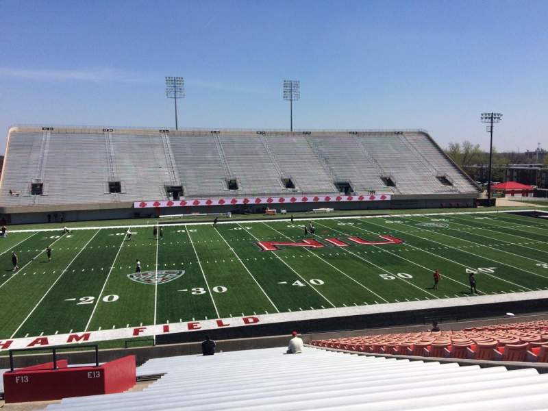 Seating view for Huskie Stadium Section E Row 32 Seat 14