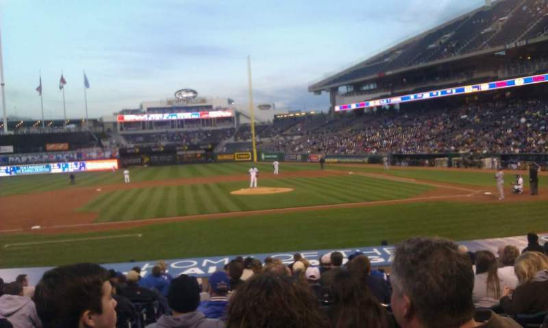 Seating view for Kauffman Stadium Section 121 Row P Seat 2