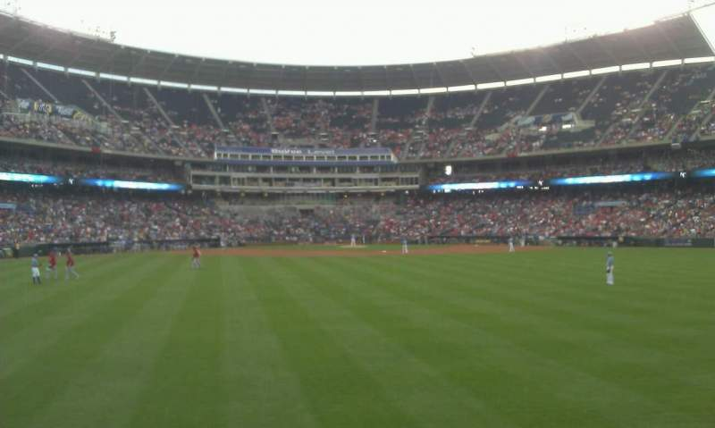 Seating view for Kauffman Stadium Section Lower Party Porch Row 1 Seat 56