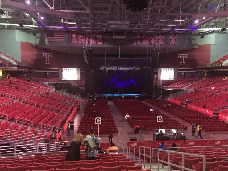 Seating view for Liacouras Center Section 109W Row W Seat 2