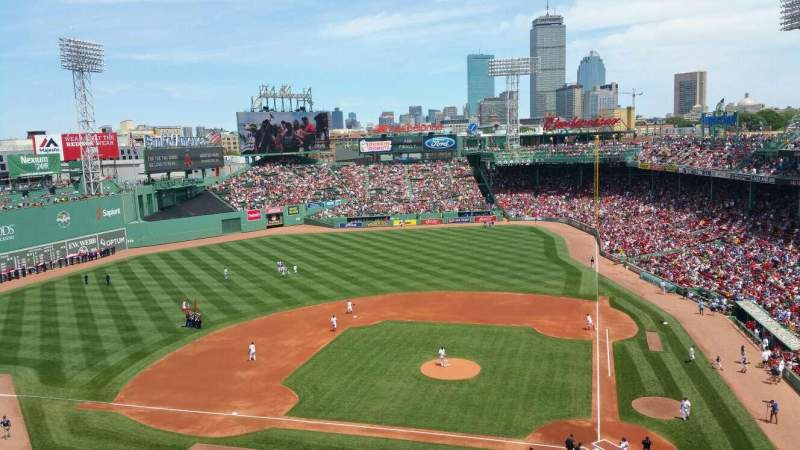 Seating view for Fenway Park Section Pavilion Box 2 Row B Seat 5,6,7