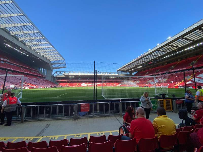Seating view for Anfield Section 105 Row 5 Seat 120