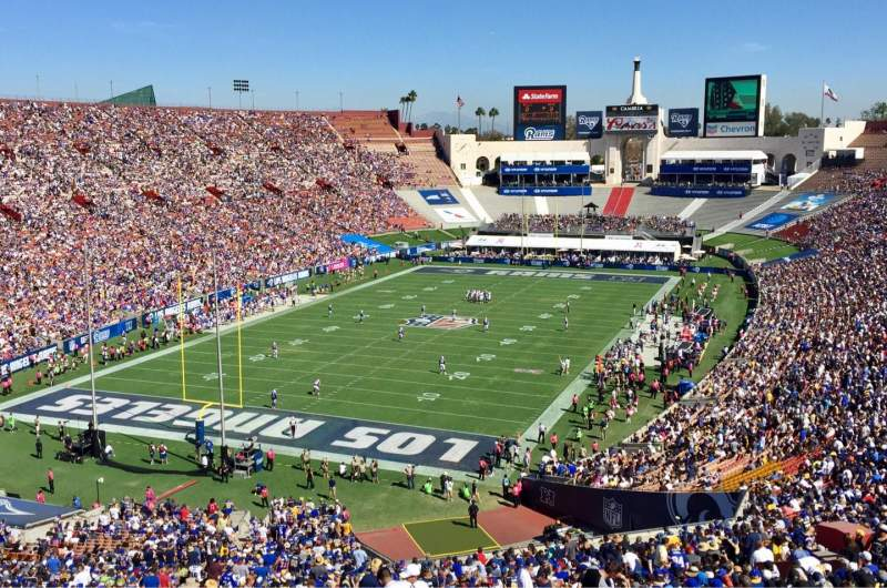 Seating view for Los Angeles Memorial Coliseum Section 13H Row 72 Seat 112