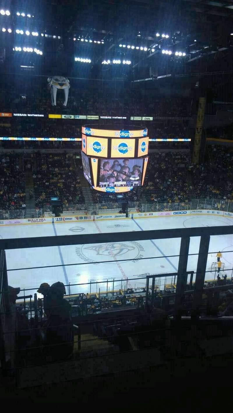 Seating view for Bridgestone Arena Section 308 Row J Seat 1