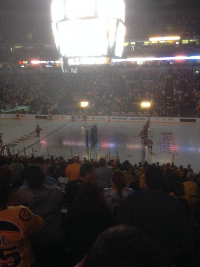Seating view for Bridgestone Arena Section 106 Row P Seat 1