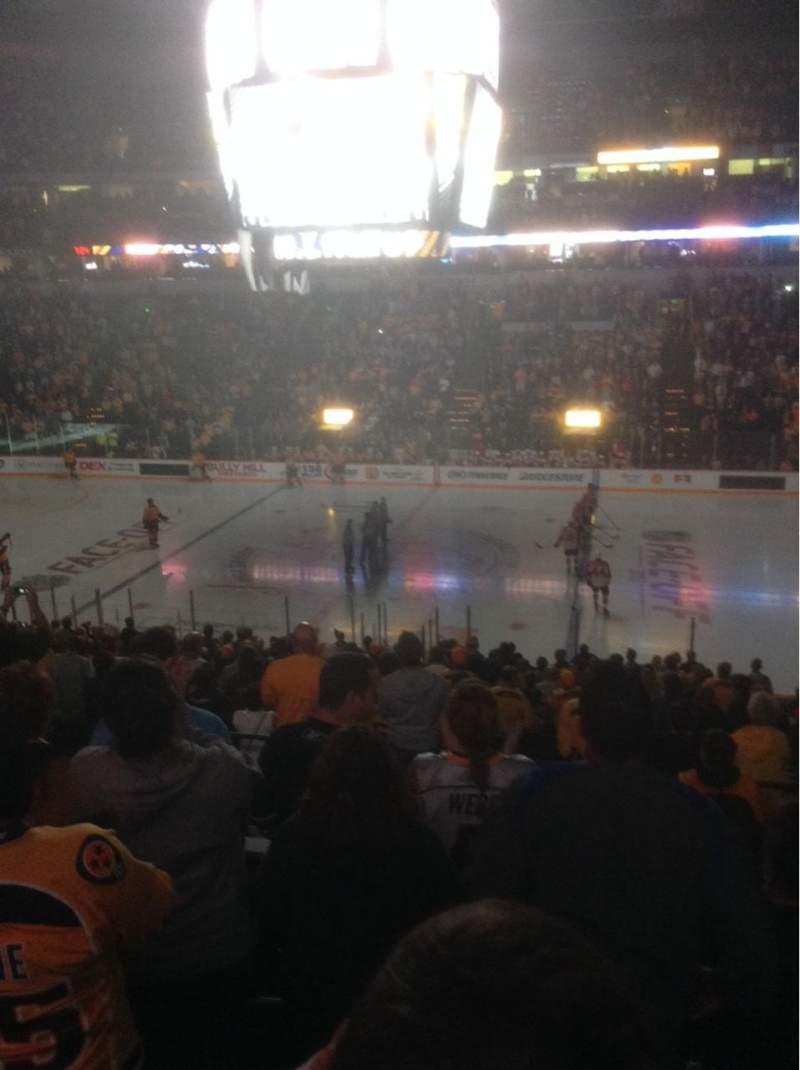 Seating view for Bridgestone Arena Section 106 Row P Seat 1