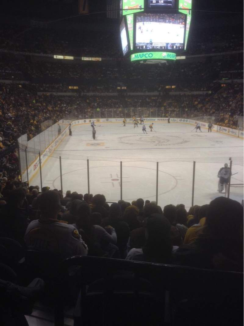 Seating view for Bridgestone Arena Section 110 Row D Seat 9