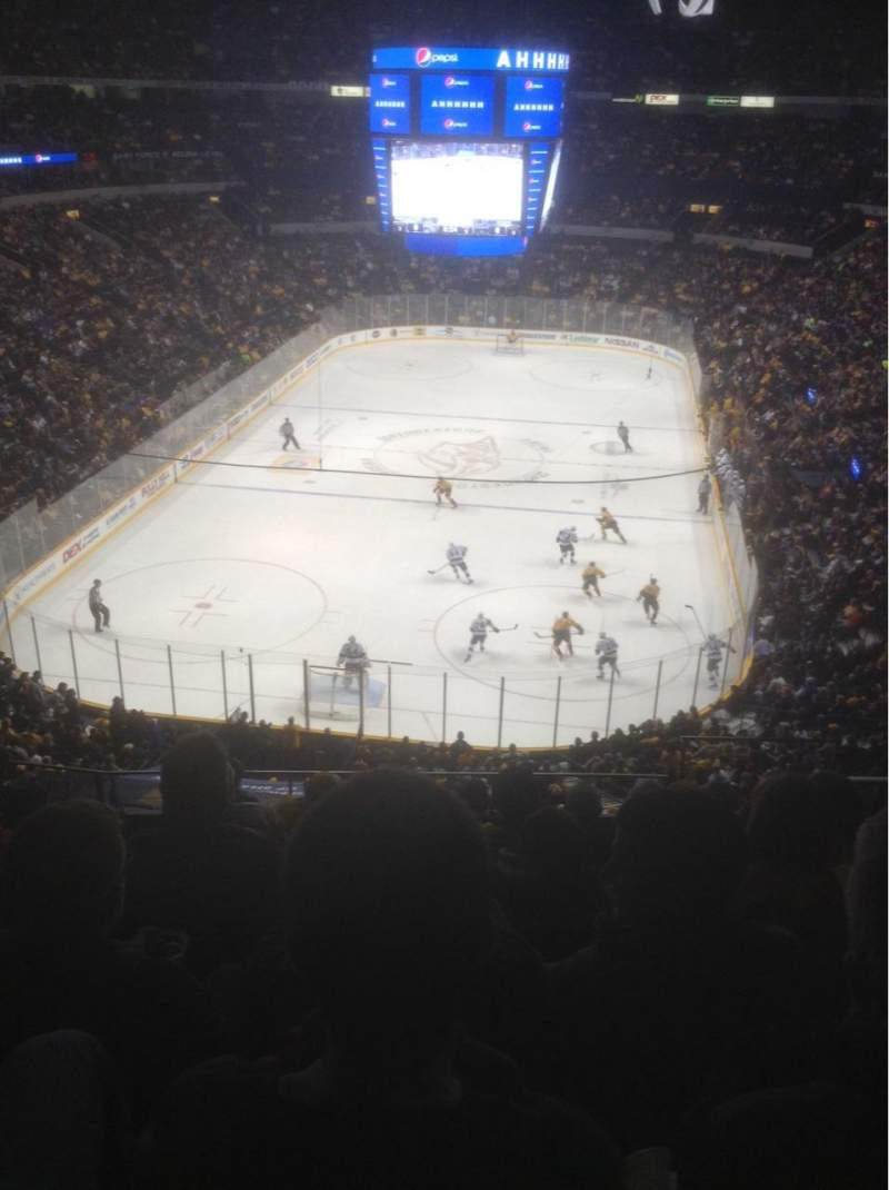 Seating view for Bridgestone Arena Section 318 Row H Seat 1