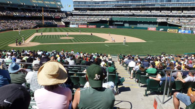 Seating view for Oakland Alameda Coliseum Section 114 Row 25 Seat 1