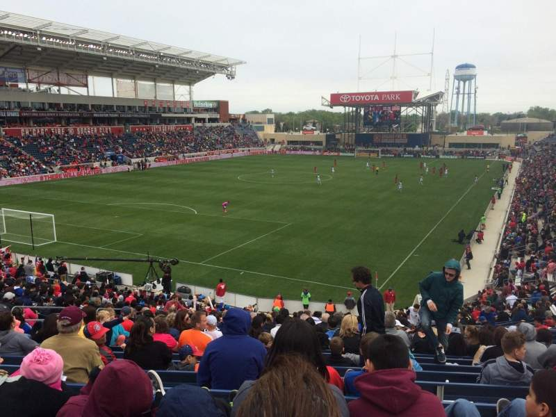 Seating view for Toyota Park Section 114 Row 27 Seat 12