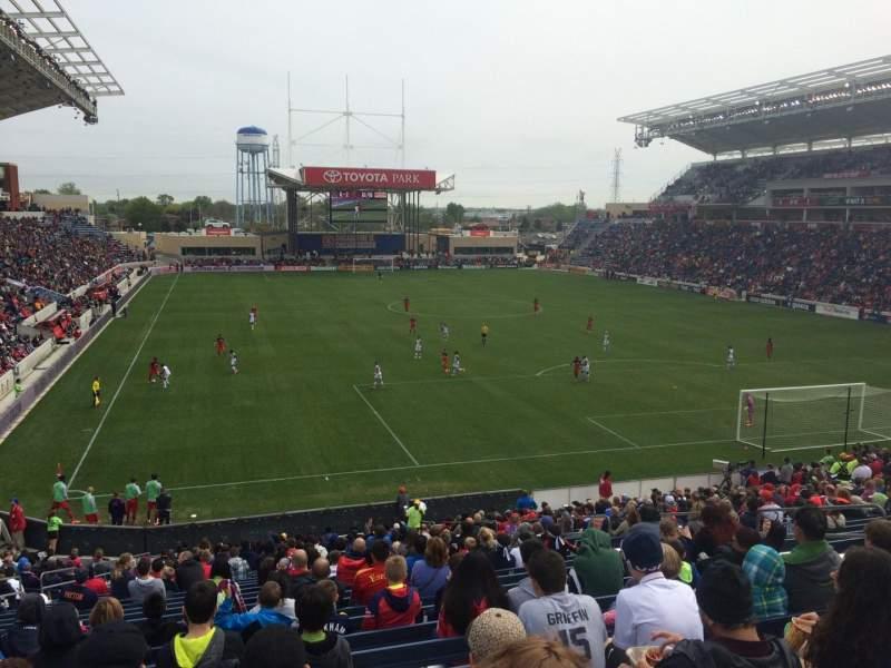 Seating view for Toyota Park Section 120 Row 28 Seat 10