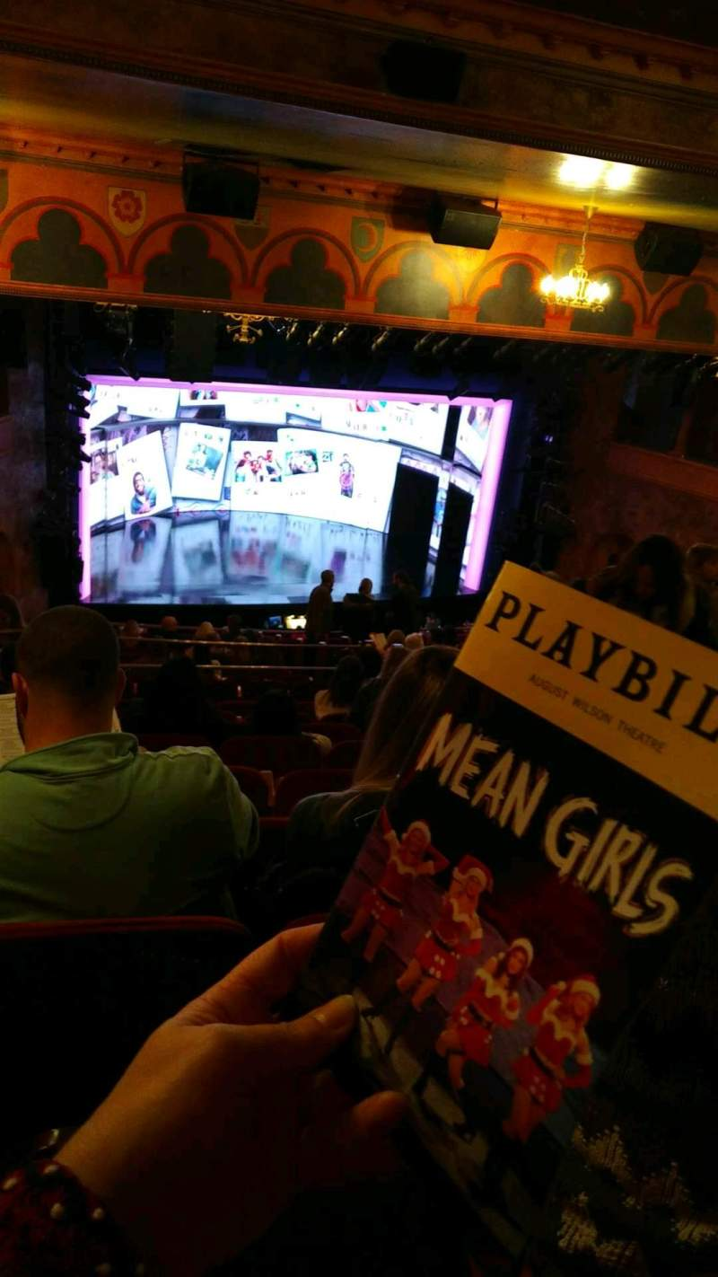 Seating view for August Wilson Theatre Section mezzanine l Row Q Seat 15