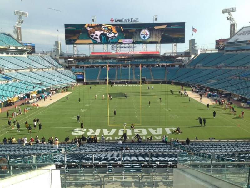 Seating view for EverBank Field Section 223 Row H Seat 12