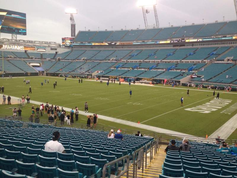 Seating view for EverBank Field Section 103 Row Z Seat 19