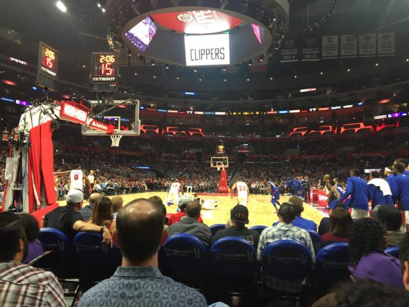 Seating view for Staples Center Section 106 Baseline Row D Seat 1