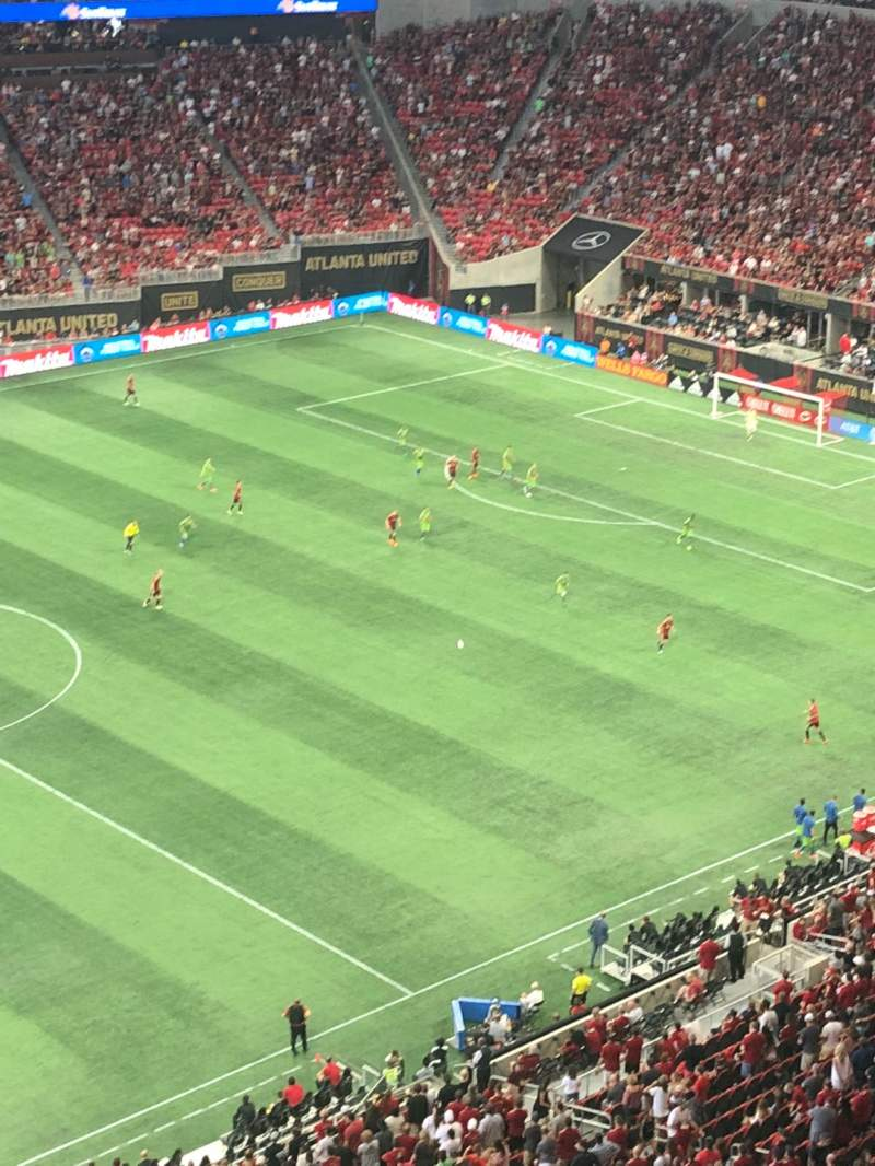Seating view for Mercedes-Benz Stadium Section 343 Row 1 Seat 3