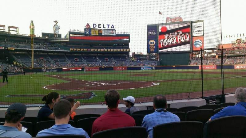 Seating view for Turner Field Section 101 Row 3 Seat 9
