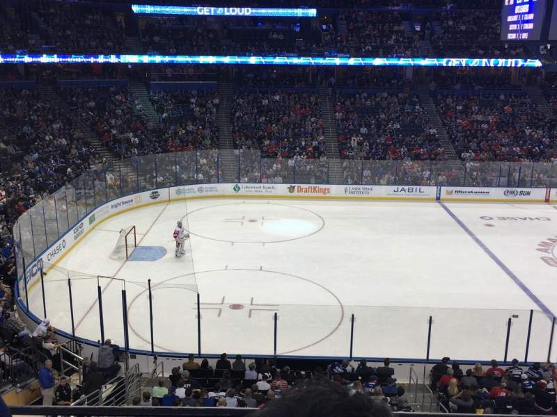 Seating view for Amalie Arena Section 203 Row B Seat 8