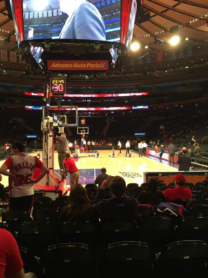 Seating view for Madison Square Garden Section Baseline 2 Row 9 Seat 15