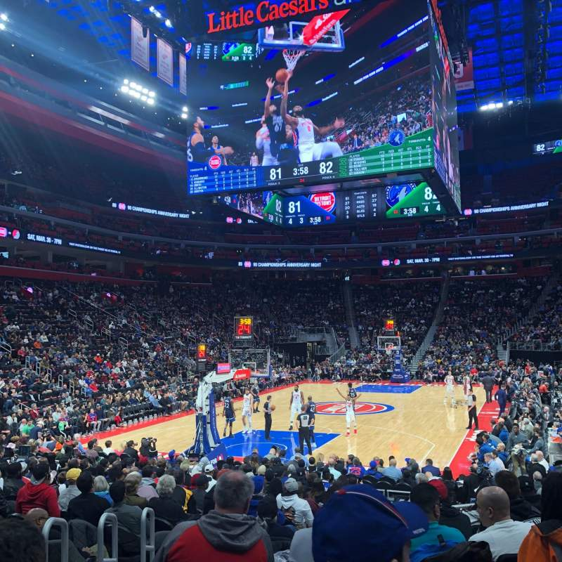 Seating view for Little Caesars Arena Section 101 Row 12 Seat 1