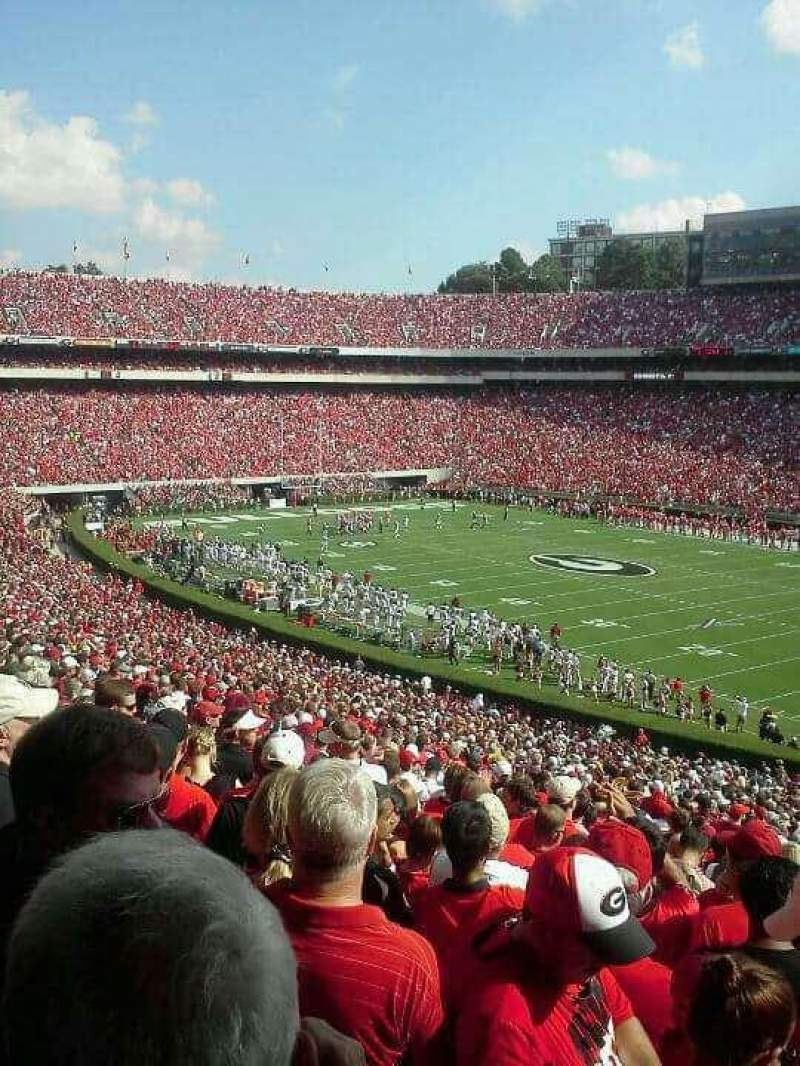 Seating view for Sanford Stadium Section 102 Row 58 Seat 1