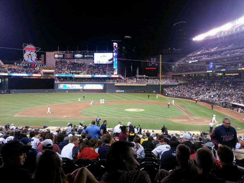 Seating view for Target Field Section 119 Row 17 Seat 3