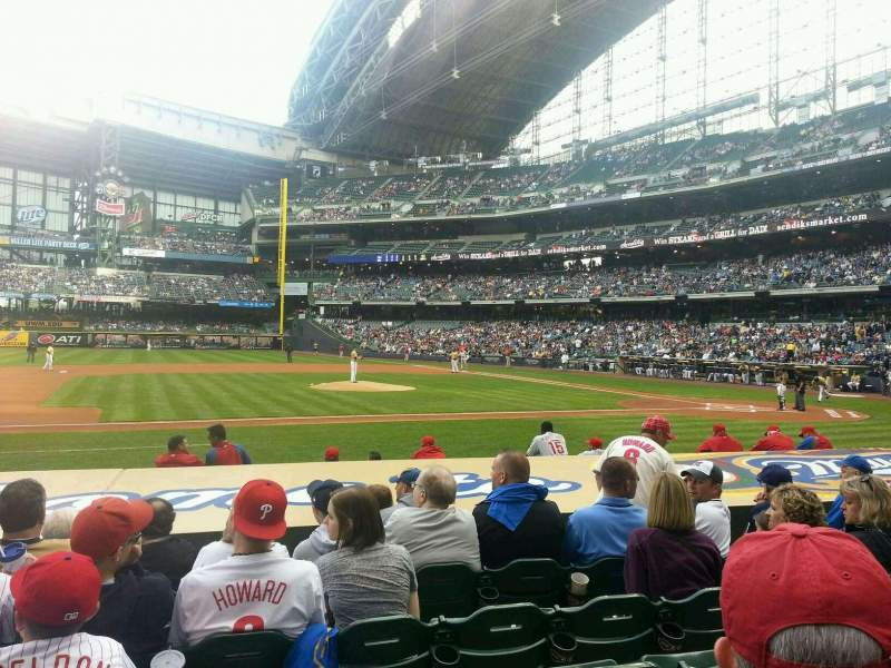 Seating view for Miller Park Section 123 Row 6