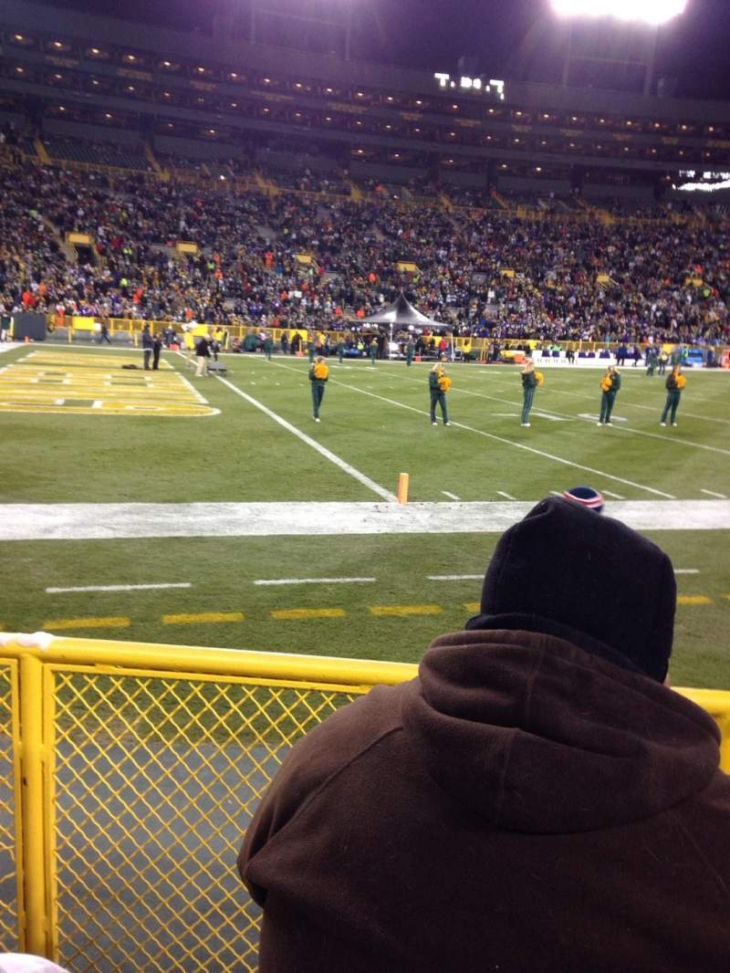 Seating view for Lambeau Field Section 110 Row 3 Seat 3