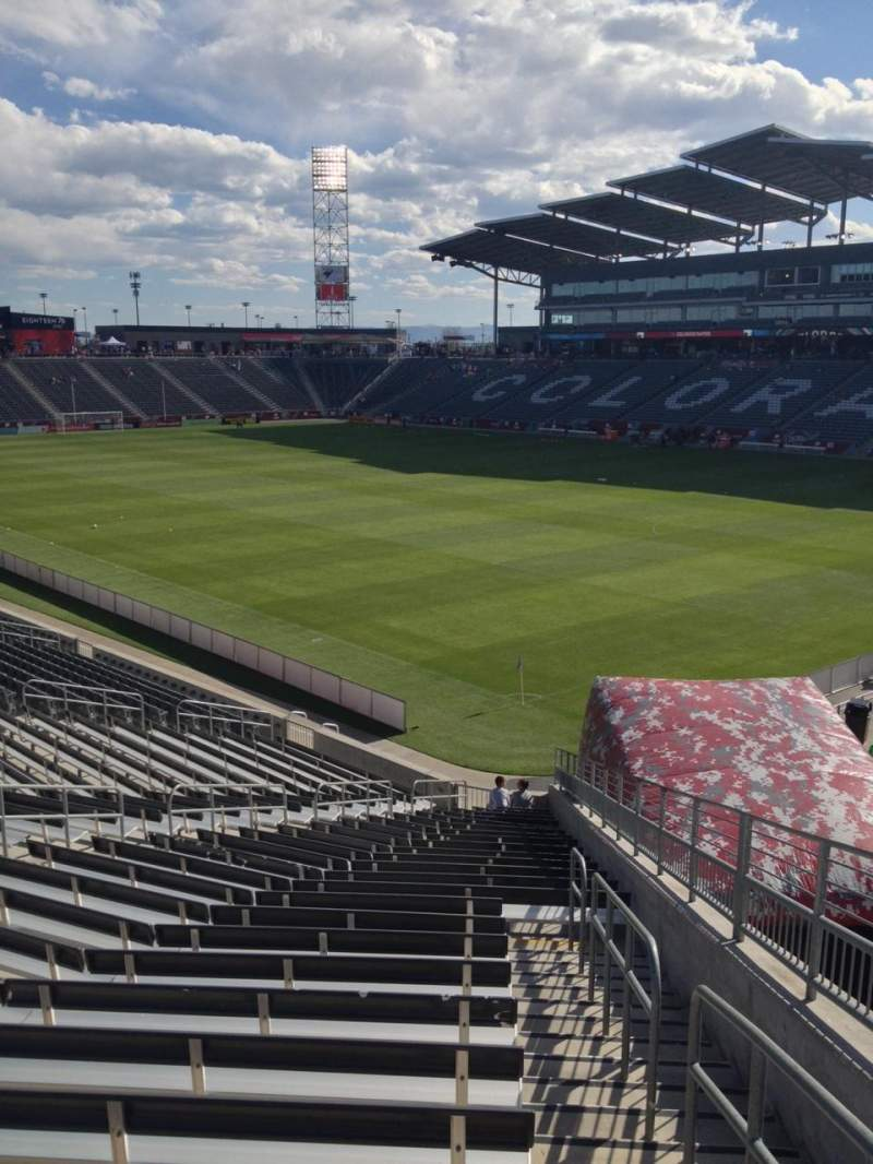 Seating view for Dick's Sporting Goods Park Section 100 Row 26 Seat 1