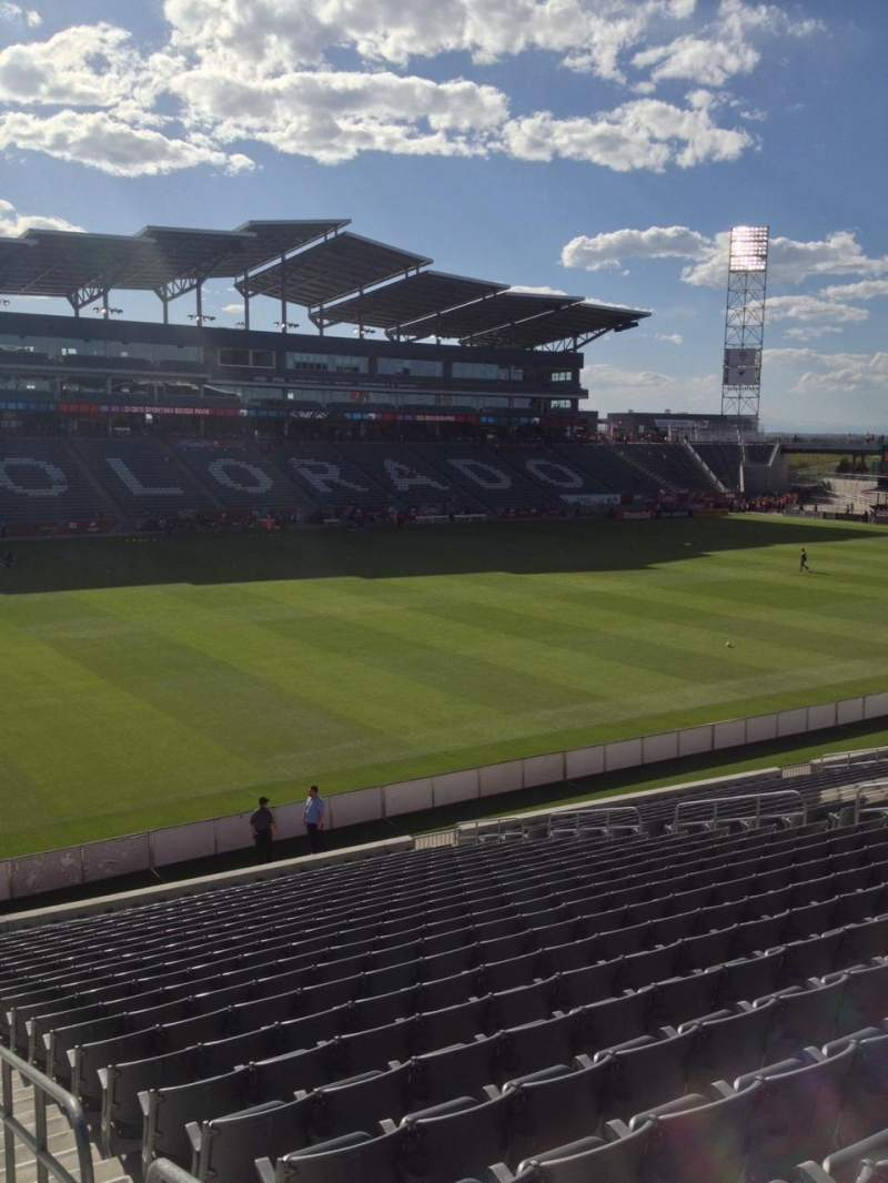 Seating view for Dick's Sporting Goods Park Section 112 Row 25 Seat 1