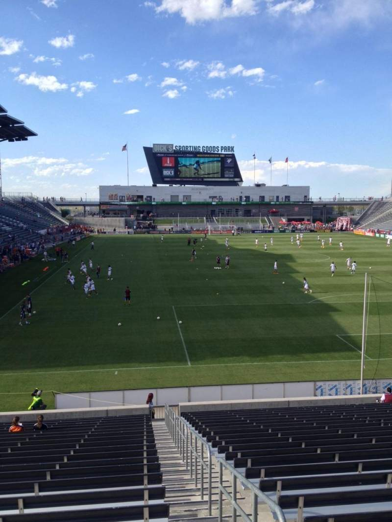 Seating view for Dick's Sporting Goods Park Section 120 Row 24 Seat 1
