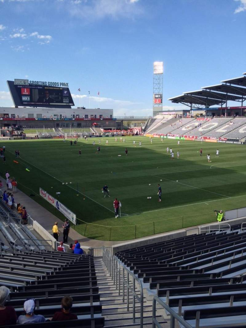 Seating view for Dick's Sporting Goods Park Section 122 Row 22 Seat 1