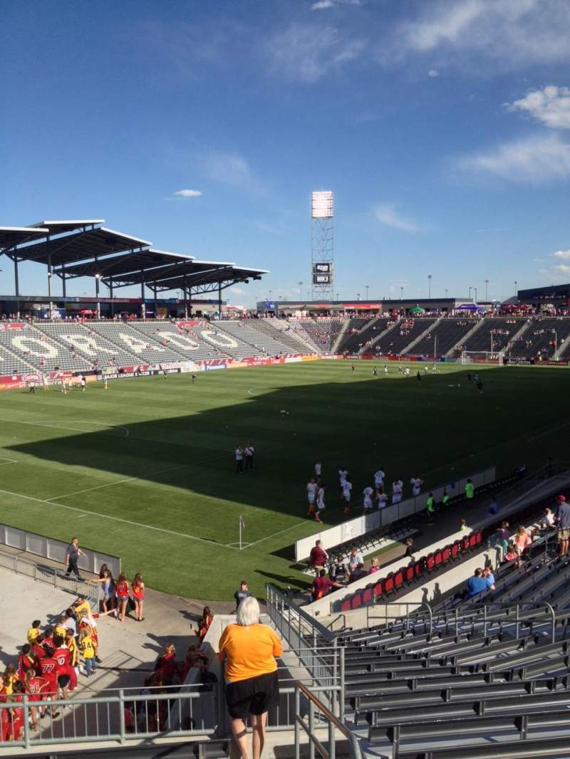Seating view for Dick's Sporting Goods Park Section 136 Row 25 Seat 1