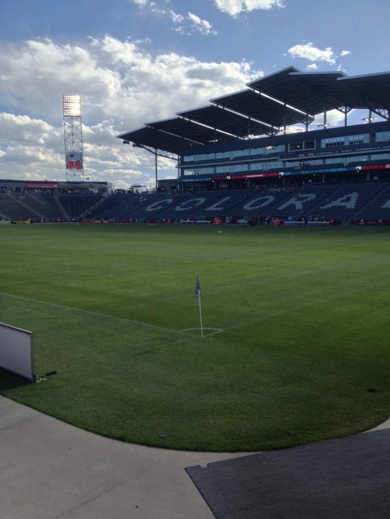 Seating view for Dick's Sporting Goods Park Section 100 Row 3 Seat 3