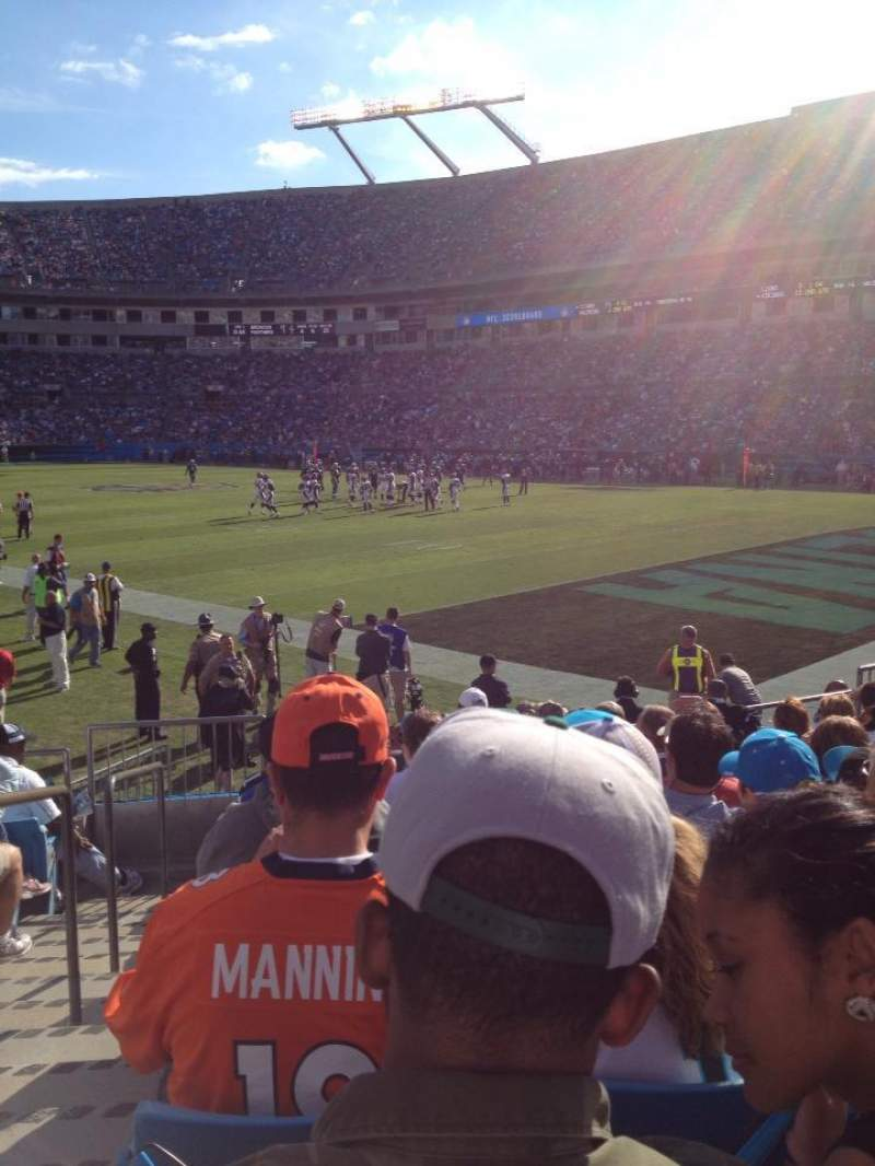 Seating view for Bank of America Stadium Section 105 Row 9 Seat 15