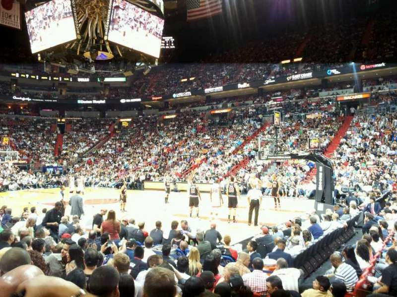 Seating view for American Airlines Arena Section 105 Row 8 Seat 1