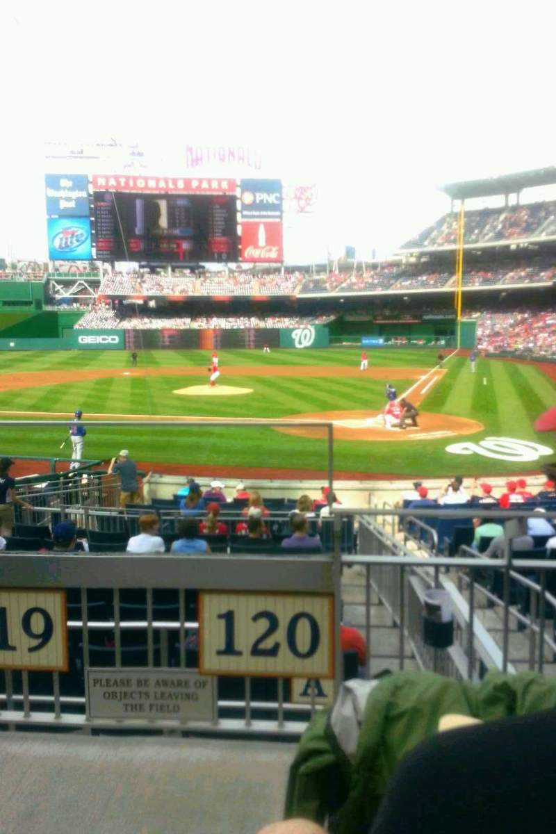 Seating view for Nationals Park Section 120 Row C Seat 9